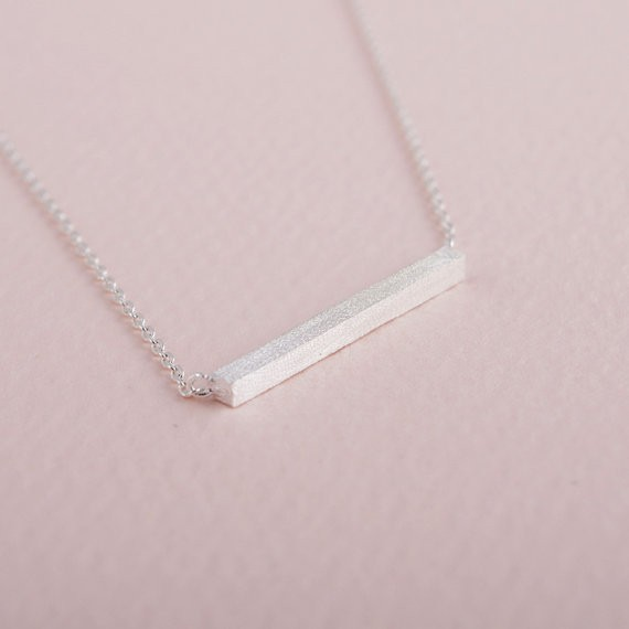 2014-Fashion-18k-Silver-Square-Bar-Necklace-Free-Shipping