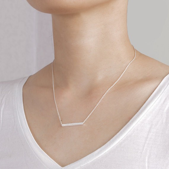 2014-Fashion-18k-Silver-Square-Bar-Necklace-Free-Shipping (2)