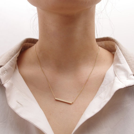2014-Fashion-18K-Gold-Square-Bar-Necklace-Free-Shipping (3)