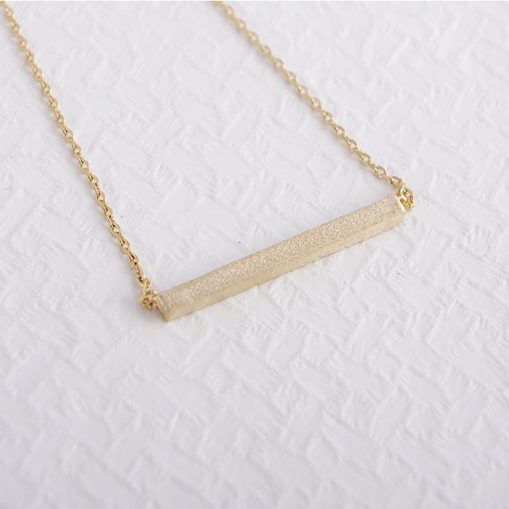 2014-Fashion-18K-Gold-Square-Bar-Necklace-Free-Shipping
