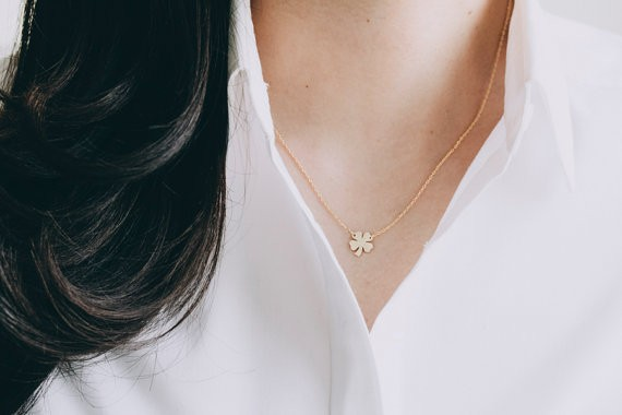 2014-Fashion-18k-Gold-four-leaf-clove-necklace-for-girlfriend-Free-Shipping (2)