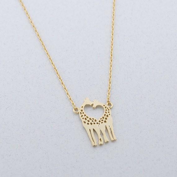 2014-Fashion-18K-Gold-Silver-Loving-Giraffes-Necklace-Free-Shipping