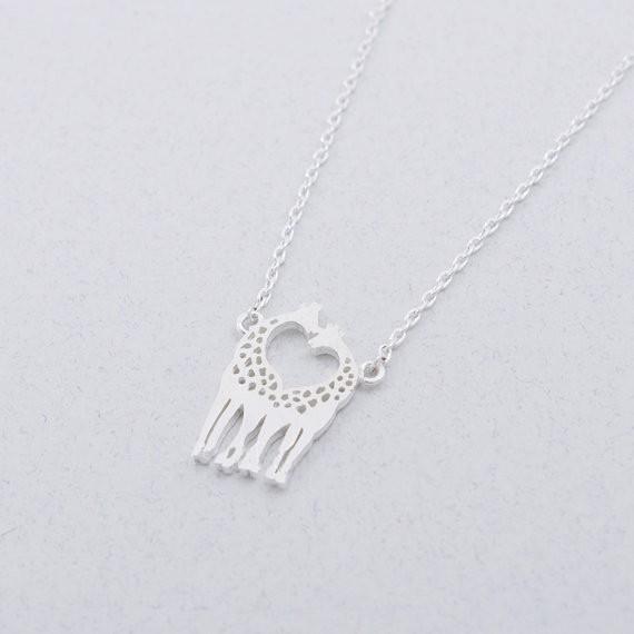 2014-Fashion-18K-Gold-Silver-Loving-Giraffes-Necklace-Free-Shipping (1)