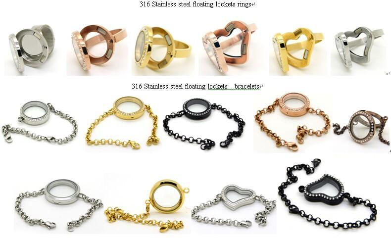 316L stainless steel floating lockets bracelets