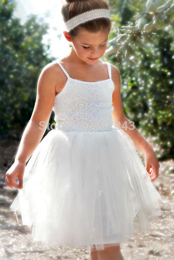 1-vestido de daminha Girls Summer Wedding Dress Spaghetti Strap Sequins Flower Girl Dress Kids Wedding Dress