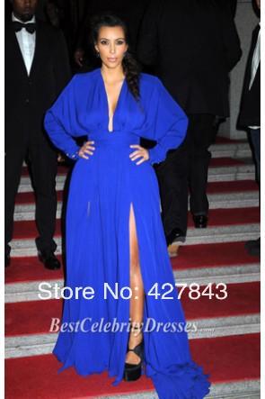 3-2013 Kim Kardashian Angel Ball Sexy Deep V Neck Long Sleeve Royal Blue Front Slit Floor Length Red Carpet Celebrity Dresses Evening Gown
