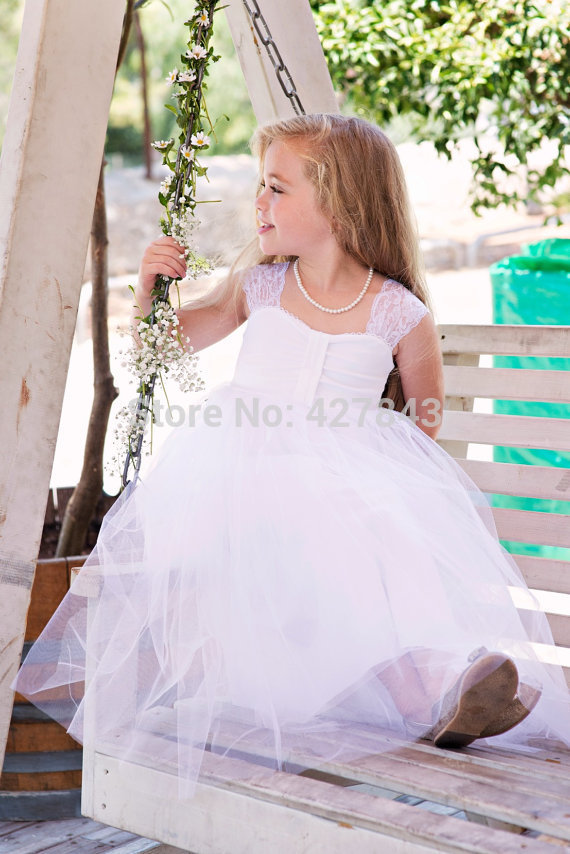 1-White Ivory Flower Girl Dress for Wedding Lace Cap Sleeves Wedding Flower Girl Dress vestido daminha Cute Kids Wedding Dress