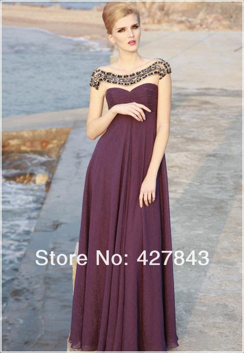 1-Custom Made Off Shoulder Short Sleeves Rhinestone Chiffon Long Evening Dress 2013 New Arrival