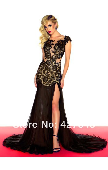 1-Hot Selling Tulle Lace Front Short Long Back Evening Dress Beaded Special Occasion Red Carpet Prom Gown
