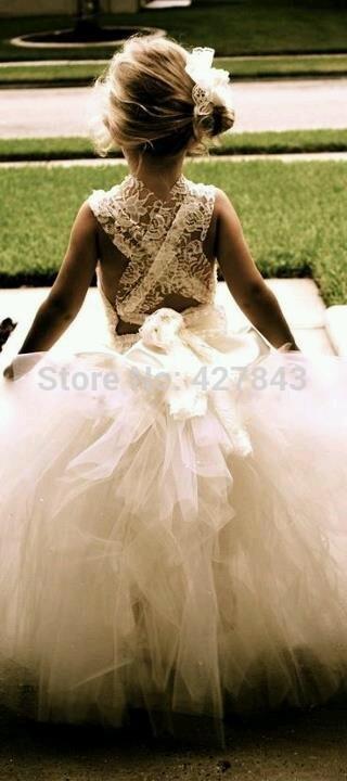 FD0053-White Ivory Lace Flower Girl Dress For Wedding Kids Princess Dress Girl Tutu Dress Wedding Custom Made