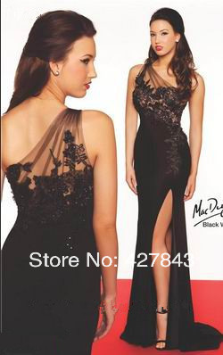 3-Sexy One Shoulder Black Chiffon Lace High Side Slit Long Red Carpet Celebrity Gown Special Occasion Evening Dress