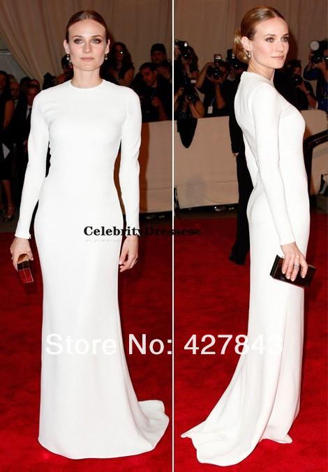 diane-kruger-in-calvin-klein-white-dress-met-gala-Modest Diane Kruger High Collar Sheath White Long Sleeves Satin Muslim Formal Red Carpet Celebrity Dress Evening Gown