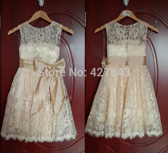 1-Champagne White Ivory Lace Flower Girl Dress with Bow Sash Vintage Lace Flower Girl Dresses High Quality Girl Dress for Wedding