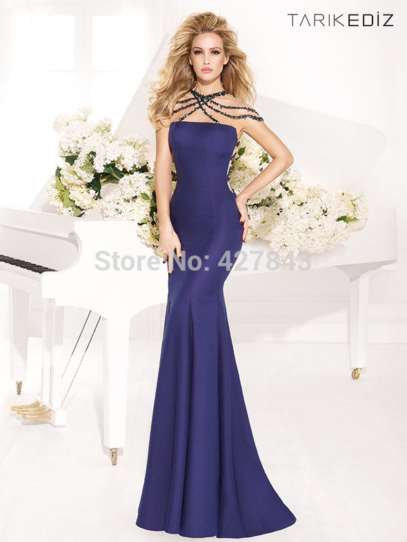1-Sexy Satin Royal Blue Backless Evening Dress Beadings Slim Mermaid Long Eveing Gown Low Back Evening Party Dress
