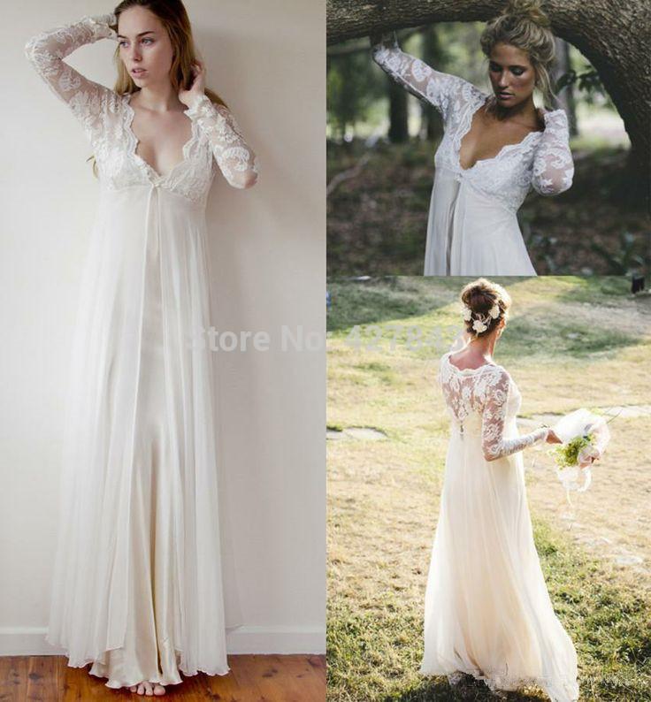 Simple Bohemian Wedding Dress Lace Long Sleeves Long Floor Length Chiffon Summer Wedding Dress Custom Made.jpg