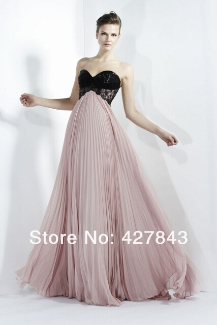 Fashion Sweetheart Top Lace Chiffon Pleat SKirt Floor Length Pink High Waist Zuhair Murad Evening Dresses
