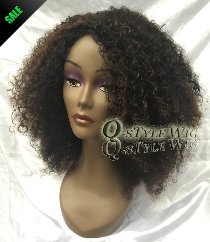Kanekalon Short Italian Yaki kinky curly hair wig, Synthetic black mix brown color fashion African American wigs for black women (1)