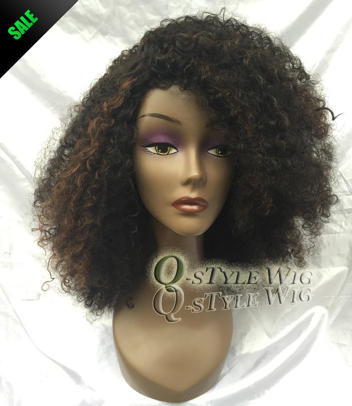 Kanekalon Short Italian Yaki kinky curly hair wig, Synthetic black mix brown color fashion African American wigs for black women (4)