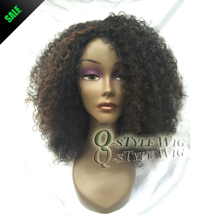 Kanekalon Short Italian Yaki kinky curly hair wig, Synthetic black mix brown color fashion African American wigs for black women (5)