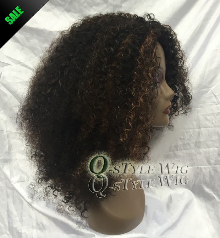 Kanekalon Short Italian Yaki kinky curly hair wig, Synthetic black mix brown color fashion African American wigs for black women (3)