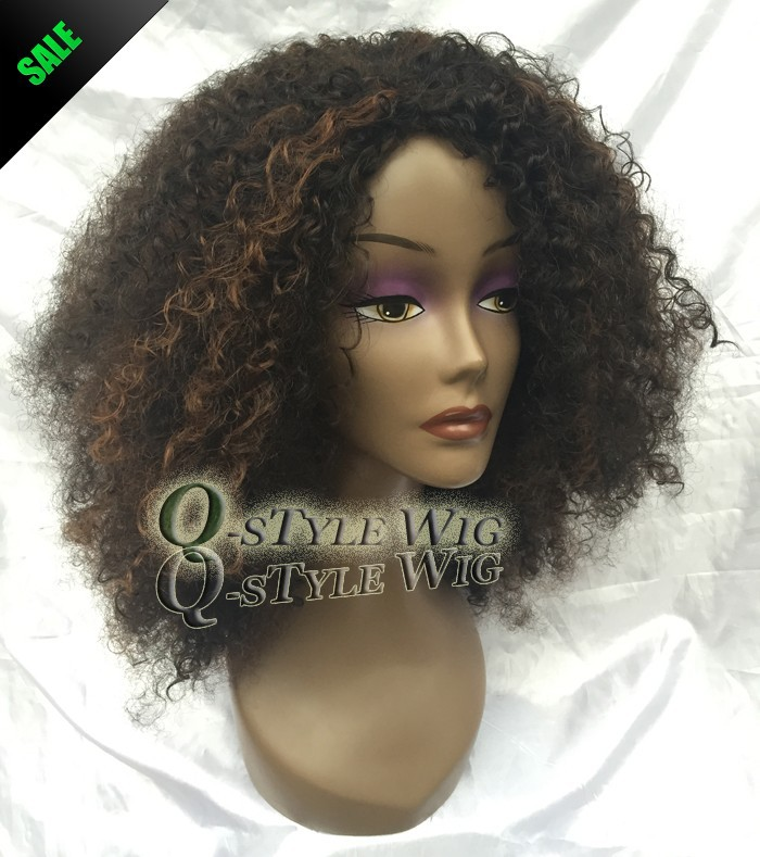 Kanekalon Short Italian Yaki kinky curly hair wig, Synthetic black mix brown color fashion African American wigs for black women (2)