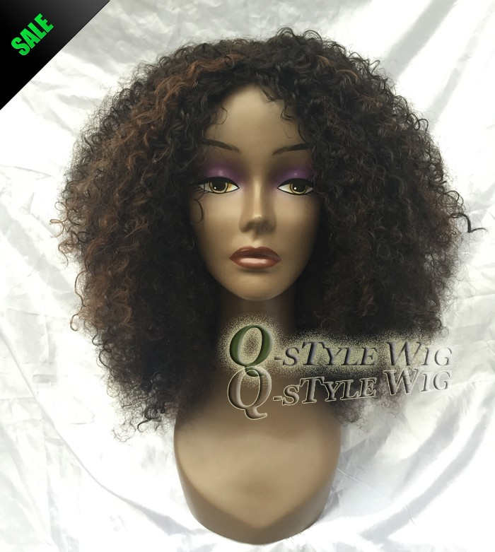 Kanekalon Short Italian Yaki kinky curly hair wig, Synthetic black mix brown color fashion African American wigs for black women