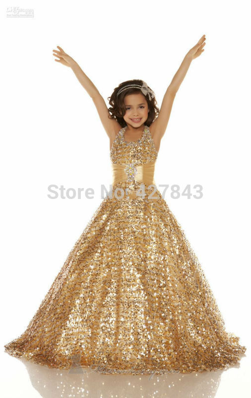 1-Free Shipping Halter Sequins Sparkly Pageant Dress For Girls Glitz Kids Prom Dress Children`s Party Gown Gold Ball Gown