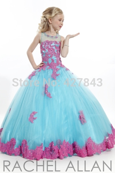 1-Children`s Party Dress Scoop Neck Applique Lace Beadings Girls Ball Gown Prom Dress Kids Pageant Dress vestido de festa infantil