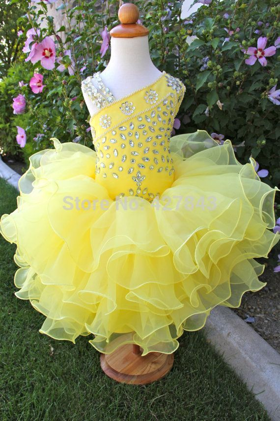 Little Girls Pageant Dress Yellow Organza Layer Crystal Diamond Cupcake Party Gown Kids Toddler Pageant Dress For Little Girls