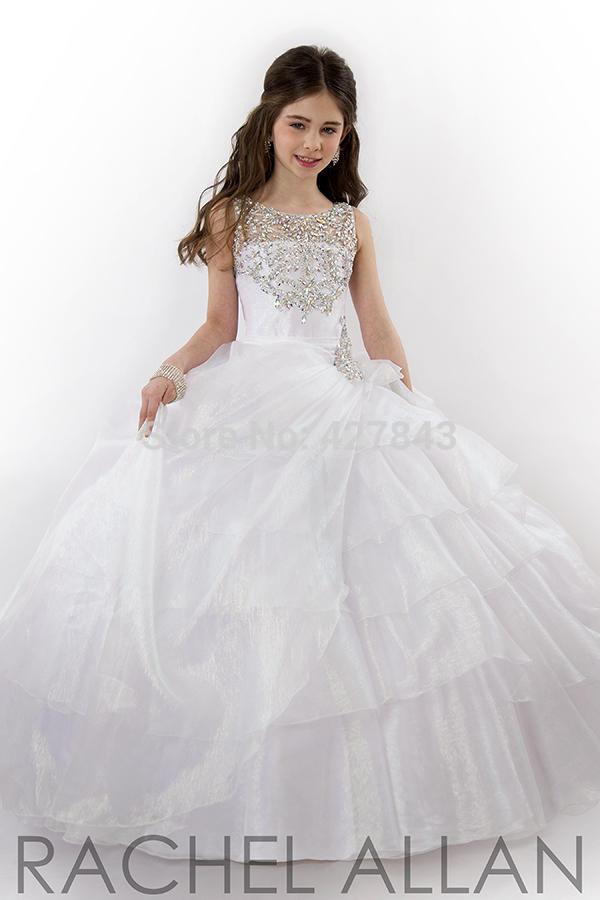 1-Pageant Dress for Girls Glitz with Diamond Organza White Ball Gown Prom Dress For Girls Children Flower Girl Dress Princess