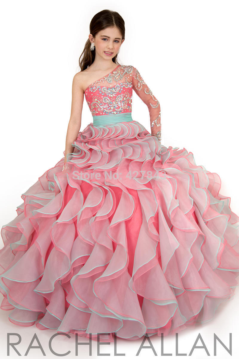 3-Pageant Dress for Juniors One Shoulder Sleeve with Crystal Beadings Sparkly Girl Prom Evening Dress Ball Gown Kids Pageant Dress