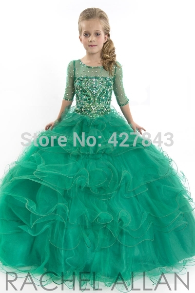 1-Girls Party Dresses Scoop Neck Half Sleeves Ball Gown Prom Dress Tulle Crystals Beadings Children Pageant Dress for Girls Glitz