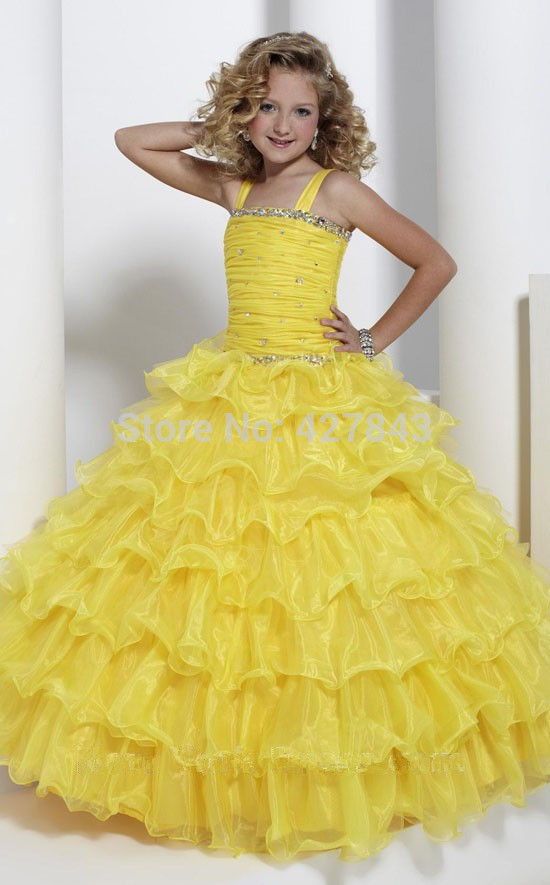 1-Free Shipping Children`s Party Dress Double Straps Organza Layer Yellow Ball Prom Dress Girls Pageant Dress Princess Customized