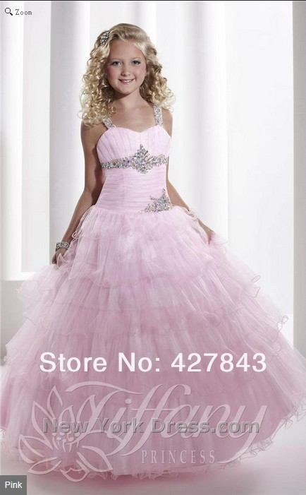 1-Princess Ball Gown Kids Party Dress  Long Girls Pageant Dresses Pink Tulle Layer Crystal Beading Children`s Prom Gown