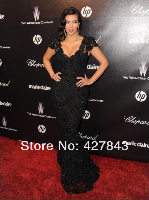 2-High Quality Black Lace Appliqued Short Cap Sleeves Slim Fit Sheath Mermaid Long Kim Kardashian Red Carpet Prom Evening Dress