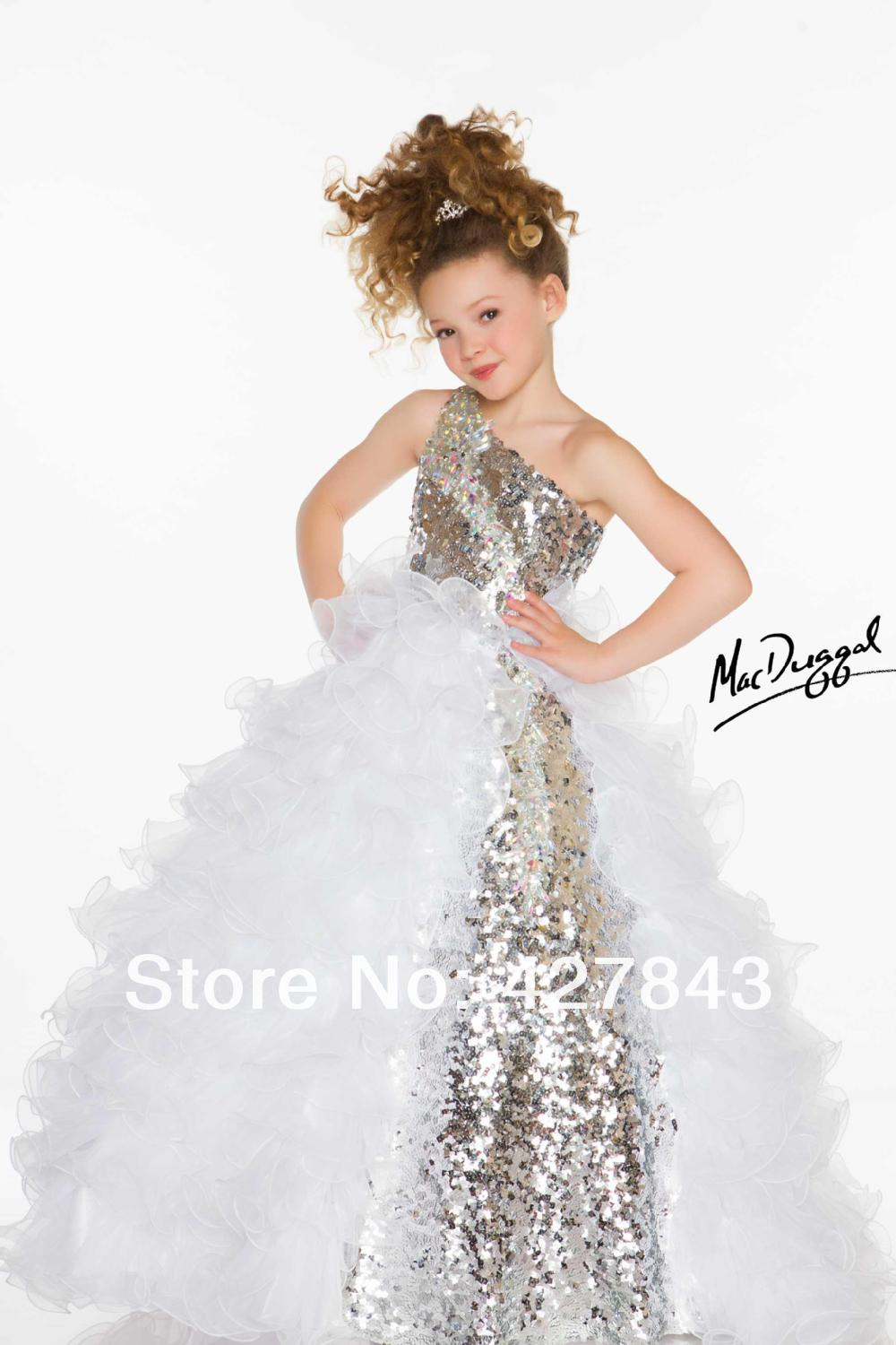 White-Silver-One Shoulder Cute Girls Pageant Dresses One Shoulder Stones Sequins Organza Layer Ruffle Skirts Fuchsia