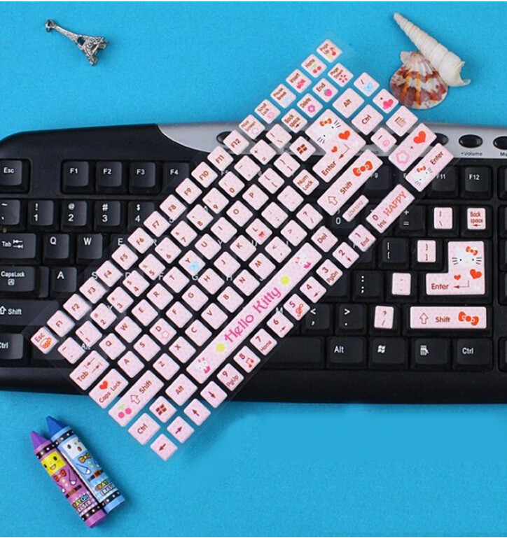 Cute Hello Kitty Silicone Keyboard Cover Skin For Soft Keyboard Stickers Bubble Stickers Computer Decoration Diy Stuff Custom Keyboard Covers Kb