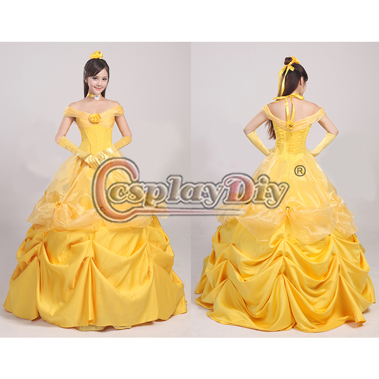 New Beauty And The Beast Princess Belle Wigs Synthetic Long Curly ...