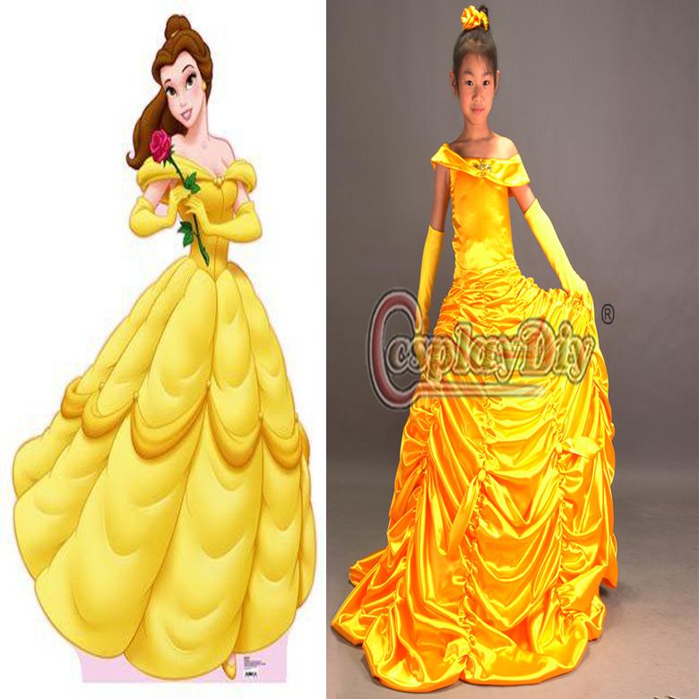 Custom Made Child Girls Kids Movie Beauty And The Beast Princess Belle Dress Costume For Halloween