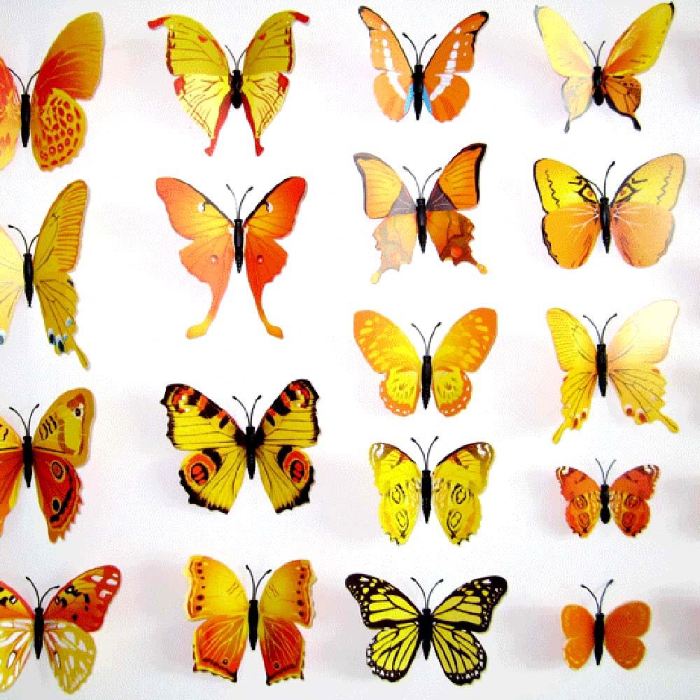 Diy 3d Butterfly Removable Wall Decals Butterflies Stickers Art ...