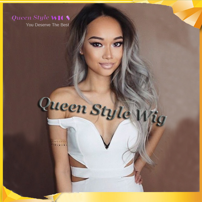 Beauty wigs Ombre Grey Wig Synthetic Lace Front Glueless Long Natural Black 1B Gray Heat Resistant Granny Hair Wigs.jpg