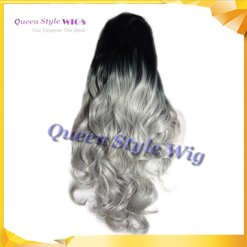 New Arrival Lace front wig, Synthetic dark black root ombre to grey color hair wig long wave frontal lace wigs in stock