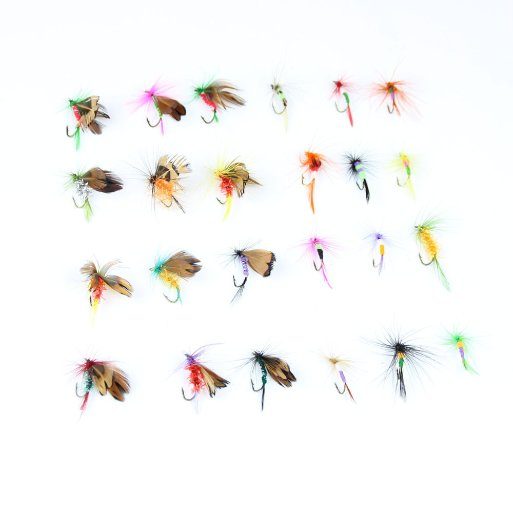 24pcs dry fly fishing lure set with box artificial trout carp bass Butterfly Insect bait freshwater saltwater flyfishing lures (17)