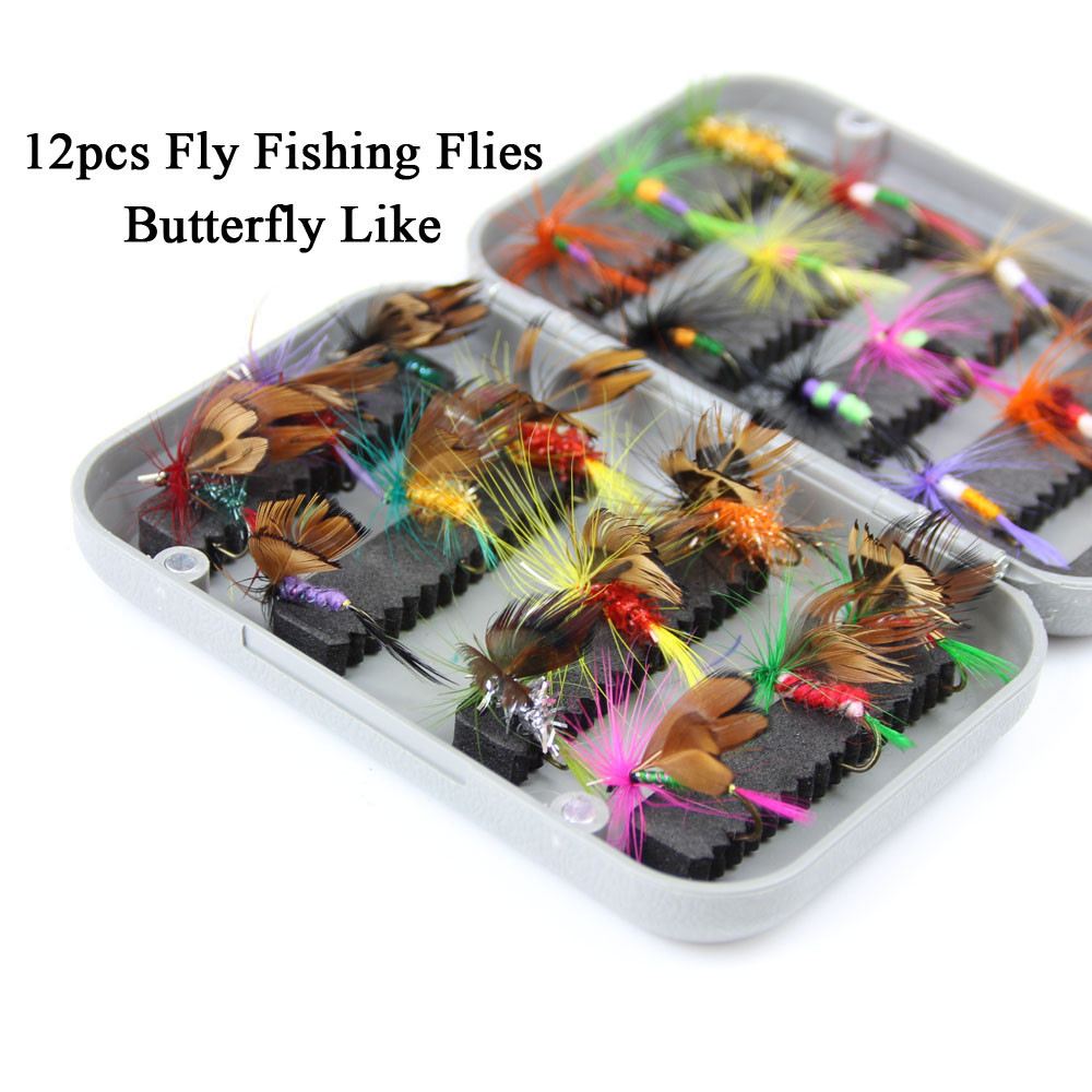 24pcs dry fly fishing lure set with box artificial trout carp bass Butterfly Insect bait freshwater saltwater flyfishing lures (1)