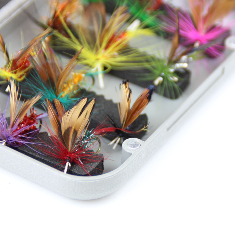 24pcs dry fly fishing lure set with box artificial trout carp bass Butterfly Insect bait freshwater saltwater flyfishing lures (11)