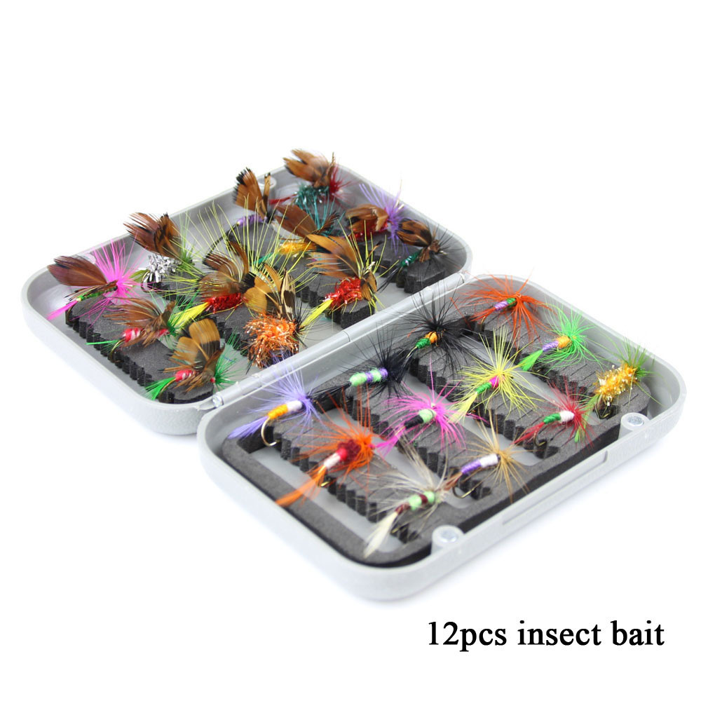 24pcs dry fly fishing lure set with box artificial trout carp bass Butterfly Insect bait freshwater saltwater flyfishing lures (18)