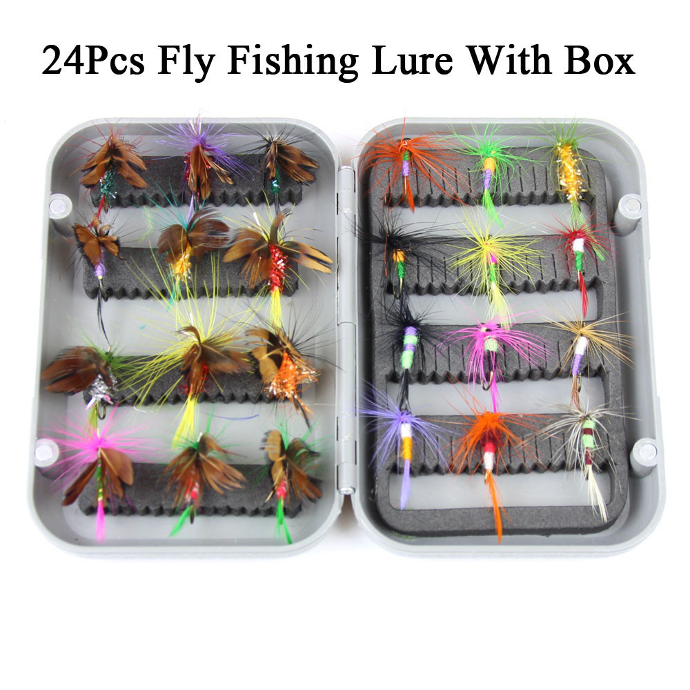 24pcs dry fly fishing lure set with box artificial trout carp bass Butterfly Insect bait freshwater saltwater flyfishing lures (21)