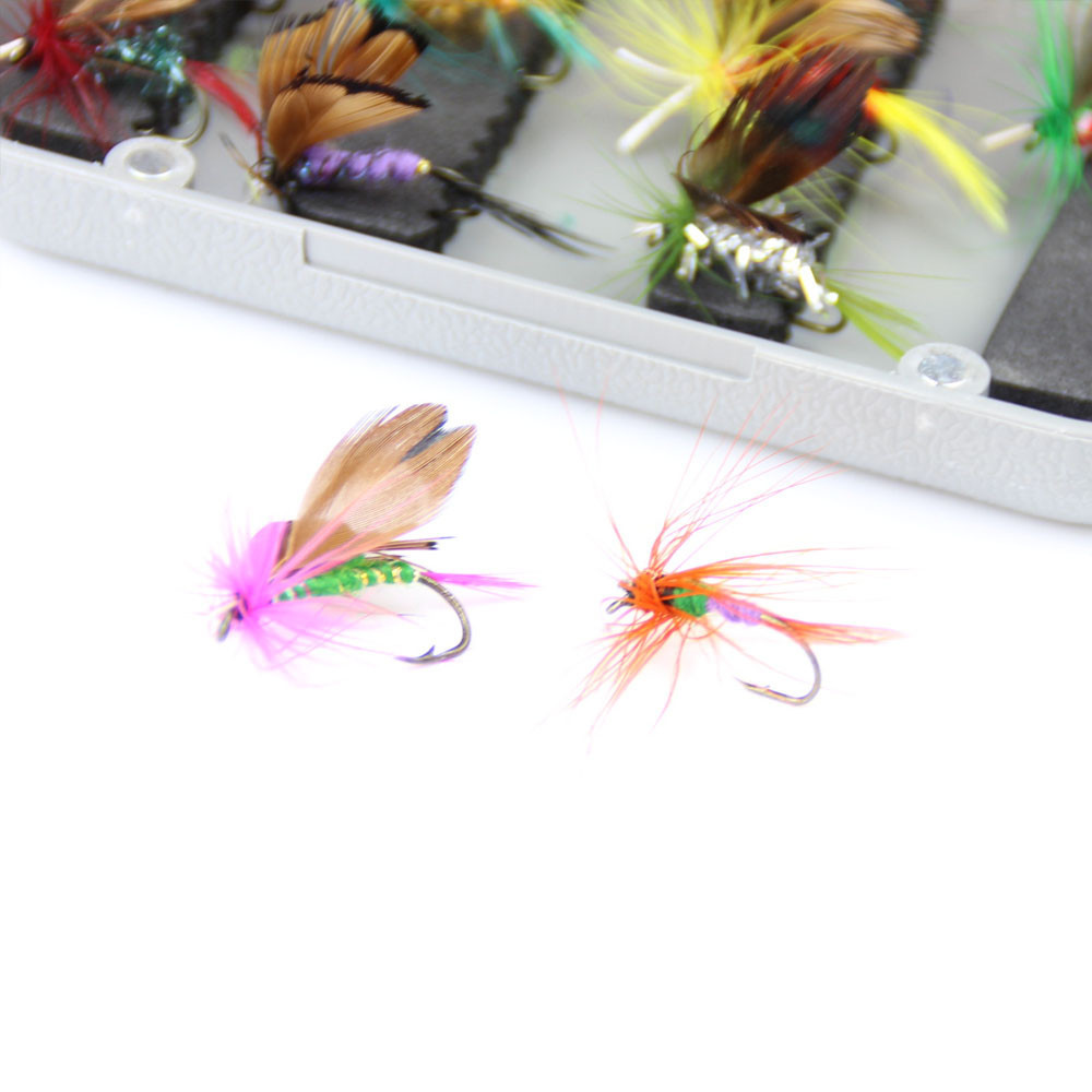 24pcs dry fly fishing lure set with box artificial trout carp bass Butterfly Insect bait freshwater saltwater flyfishing lures (14)