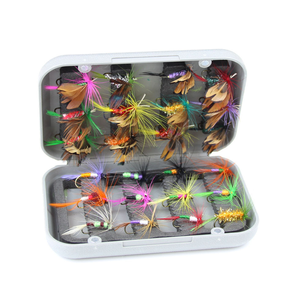 24pcs dry fly fishing lure set with box artificial trout carp bass Butterfly Insect bait freshwater saltwater flyfishing lures (9)