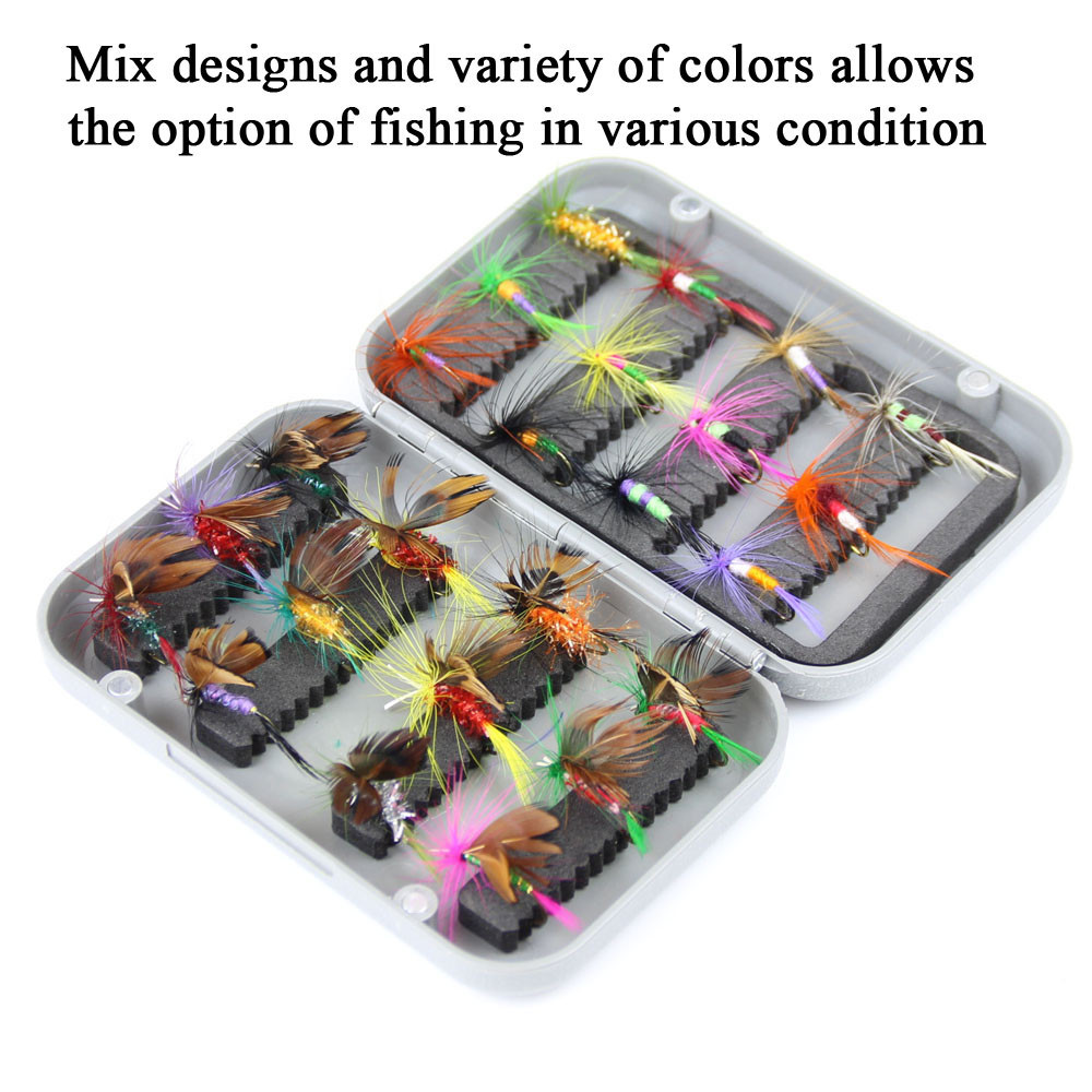 24pcs dry fly fishing lure set with box artificial trout carp bass Butterfly Insect bait freshwater saltwater flyfishing lures (19)